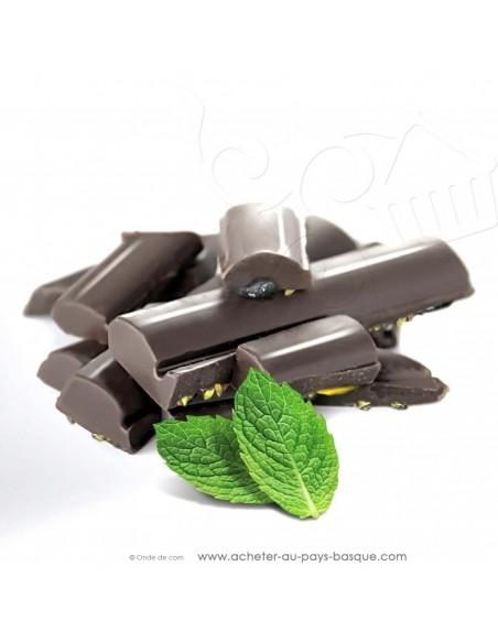 zoom Tablette Chocolat Basque noir menthes : menthe poivrée et menthe verte - Rafa Gorrotxategi chocolatier basque