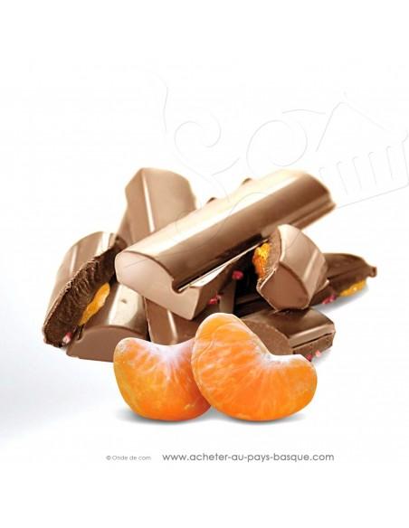 zoom tablette Chocolat lait mandarine confite calabre - epicerie sucrée en ligne - Rafa Gorrotxategi maitre chocolatier basque