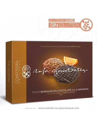 Tuiles chocolat orange spécialité de Tolosa Espagne gamme gourmet - Rafa Gorrotxategi maitre chocolatier basque - vente en ligne
