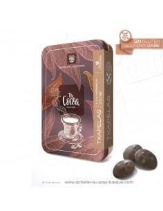 boite métal de chocolats en forme de bérets Basques NOIR 80% et orange - Rafa Gorrotxategi maitre chocolatier