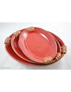 Plat à service rouge - Terre cuite de Jean de la Terre - Ekibidea Cambo les Bains