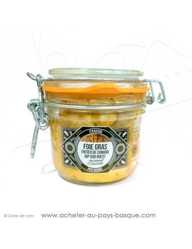 Foie Gras de canard entier IGP piment d'Espelette conserve basque délices d'aita itxassou 180g - vente en ligne