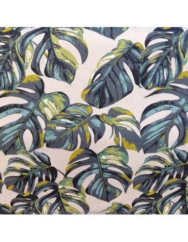 Toile coton ambiance tropicale feuilles de palmier fond beige - STOF tissus Ameublement au mètre - rideaux réfection fauteuil