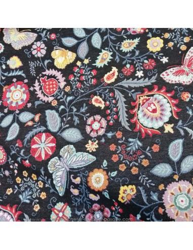 Jacquard ameublement noir motifs papillon et fleur - Tissus Ameublement - coussins rideaux réfection chaise fauteuil canapé