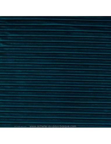 tissu velours plissé bleu canard 140 Please Thevenon - Tissus Ameublement au mètre pour chaise rideaux canapé fauteuil