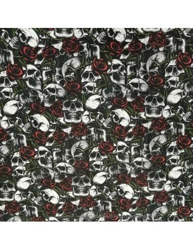 Patchwork cranes blancs fleurs roses rouges popeline coton noir - vêtement sac quilting - Tissu habillement Ameublement Biarritz