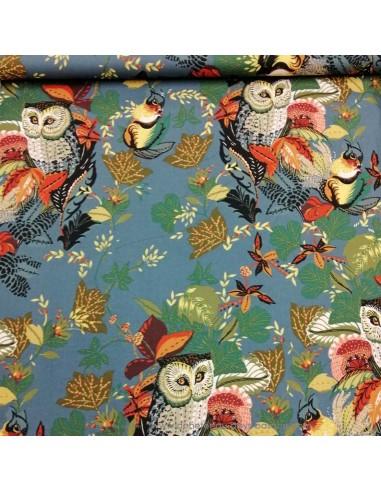 Patchwork foret chouettes hiboux popeline coton imprimé gris bleu - vêtement sac quilting - Tissu habillement Ameublement