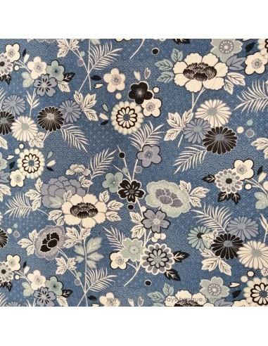 Tissu Patchwork Indigo theme fleurs japonaises coton de lin fond bleu - vêtement sac quilting - Tissus habillement Ameublement