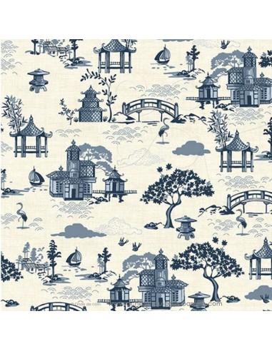 Tissu Patchwork Indigo temple japonais coton de lin fond écru - vêtement sac quilting - Tissus habillement Ameublement