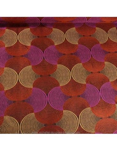 Toile  jacquard BAKARY orange motif géométrique - Tissus Ameublement au mètre - rideaux réfection chaise fauteuil canapé