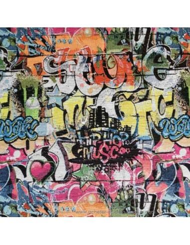 Tissu jacquard tag graffiti street art dessin de rue - Tissus Ameublement - coussin rideaux réfection chaise fauteuil canapé