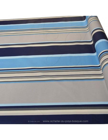 Nappe bleue en Toile enduite rayures Basques bleu - deco table cuisine terrasse Biarritz - acheter nappe basque