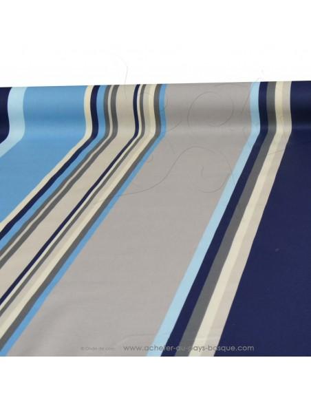 Nappe bleue en Toile enduite rayures Basques bleu - tissu enduit au mètre Docks Biarritz - acheter nappe basque sur mesure