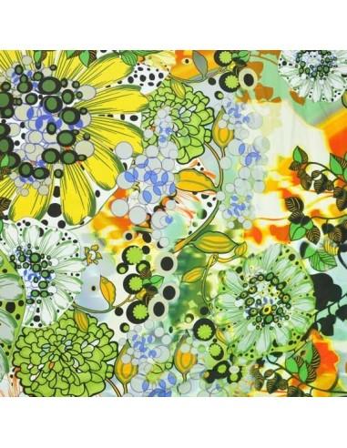 satin de coton jaune et vert tissus habillement docks negresse Biarritz
