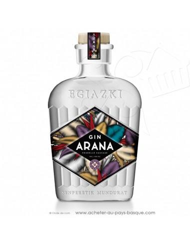 Dry Gin ARANA, notes florales.  délicat, , peu agressif doux, peu amère, saveur prunelles - Egiazki liqueurs basques