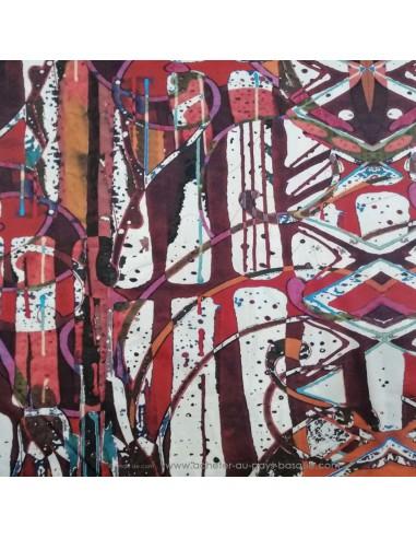Satin de Coton léger effet peinture acrylique multicolore qualité Italienne -Tissu habillement vente en ligne - Dock Biarritz