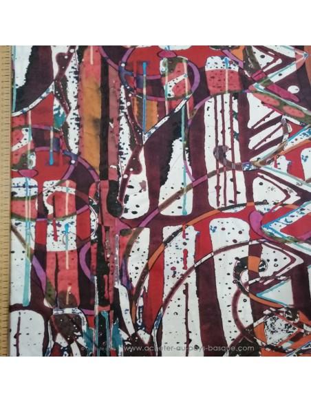 zoom Satin Coton léger effet peinture acrylique multicolore qualité Italienne - Tissu habillement vente en ligne