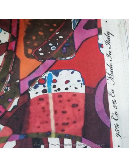 Satin Coton léger effet peinture acrylique multicolore qualité Italienne - Tissu habillement au mètre vente en ligne