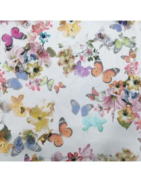 Tissu Satin de coton légèrement strech blanc motifs floraux fleurs papillons multicolore - tissus habillement au mètre