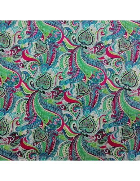 Tissu Satin de coton légèrement strech motifs floraux ethniques paisley multicolore UNGARO - haute couture made in Italie