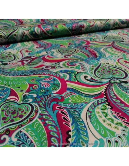 zoom Satin coton légèrement strech motifs ethniques paisley UNGARO - tissus habillemen Biarritz - haute couture made in Italie