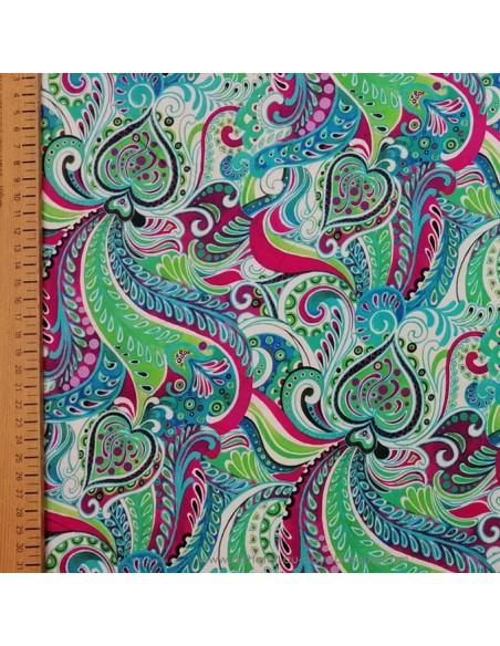 Tissu Satin coton légèrement strech ethnique paisley multicolore UNGARO - tissus habillement haute couture made in Italie