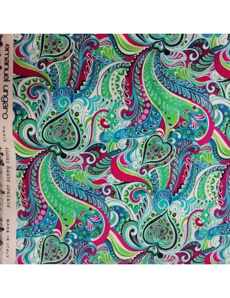 zoom Satin coton légèrement strech ethnique paisley multicolore UNGARO - tissus haute couture made in Italie