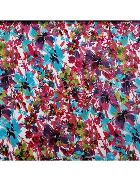 Tissu Satin de coton légèrement strech blanc motifs floraux fleurs multicolore - tissus habillement au mètre mercerie Biarritz