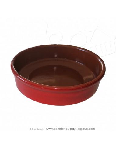 Plat rond à Paella rouge Céramique en Terre cuite diamètre 32 cm