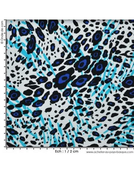 Piqué Bleu fond blanc - Tissu Habillement  - Tissus Léopard des Docks de la Negresse - Biarritz