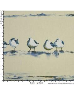 Les Bécasseaux fond blanc - Tissus Ameublement - Tissus des Docks de la Negresse - Biarritz
