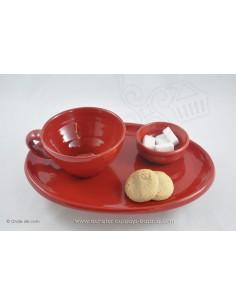Service Complet rouge Petit Déjeuner en céramique de Jean de la Terre - Ekibidea Cambo les Bains