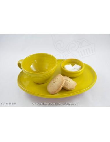 Service Complet jaune Petit Déjeuner en céramique de Jean de la Terre - Ekibidea Cambo les Bains