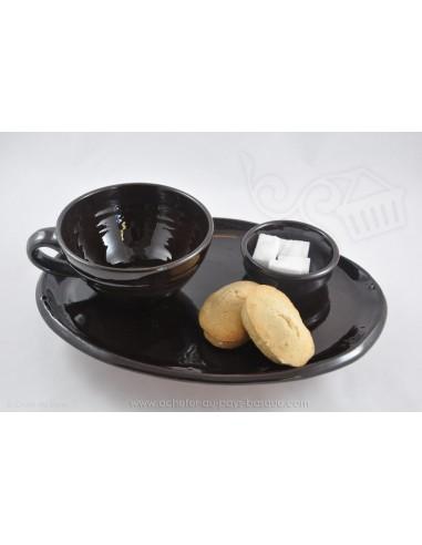 Service Complet marron Petit Déjeuner en céramique de Jean de la Terre - Ekibidea Cambo les Bains