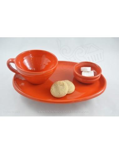 Service Complet orange Petit Déjeuner en céramique de Jean de la Terre - Ekibidea Cambo les Bains