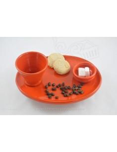 Service orange présentation Café thé gourmand Céramique de Jean de la Terre - Ekibidea Cambo les Bains