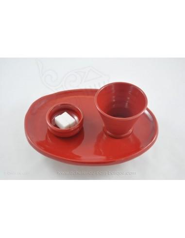 Service rouge Café thé gourmand Céramique de Jean de la Terre - Ekibidea Cambo les Bains