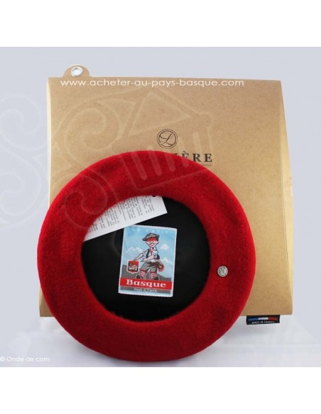 Le beret Basque Authentique - rouge coiffe traditionnelle - Basco'thentic - Bidart