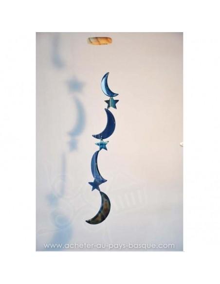 Mobile carillon agate lunes étoiles bleues - livraison à domicile