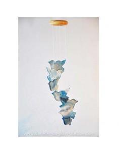 Mobile carillon oiseaux bleus