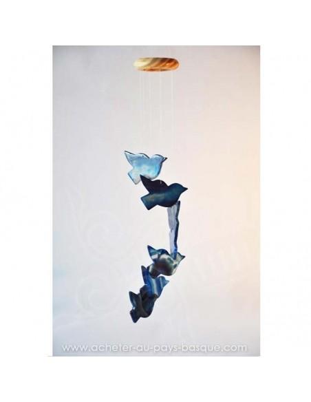 Mobile carillon agate oiseaux vol bleus - livraison à domicile