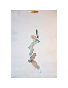 Mobile carillon agate oiseaux gris bleus