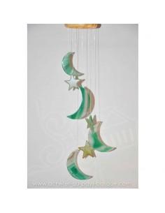 Mobile carillon agate lunes étoiles vertes