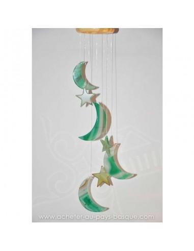 Mobile carillon agate lunes étoiles vertes - bresil boutique