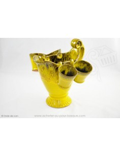 Service Carafe et ses 4 verres jaune - Terre Cuite de Jean de la Terre - Service Apéritif Sangria Punch - Ekibidea Cambo les Bai