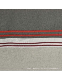 Nappe Toile enduite rayures chic gris rouge Basques - Docks Negresse Biarritz