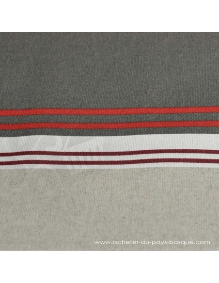 Nappe Toile enduite rayures chic gris rouge Basques texture - Docks Negresse Biarritz