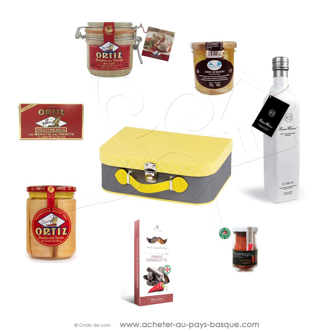 coffret cadeau: huile d'olive Gourmet thon bonite mi-cuit morue ventrêche Bonito tablette chocolat piment d'Espelette